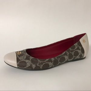 COACH Chelsea Brown Signature PVC Flats Sz 9.5
